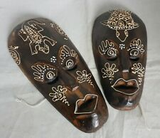 2 Pair of Beautiful Decorative African Wooden Masks