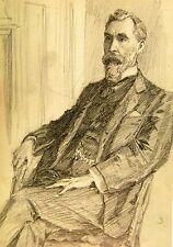 Edwardian pequeñas Retratos Caballero de la perilla Barba Moustach Lápiz Harold Sparks C1910