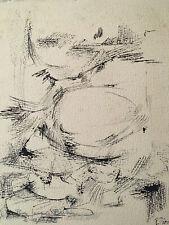 Très beau dessin encre noire abstrait abstraction 1964 signé Robert perot