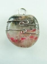 """1.0""""/25mm Rhodo Silica™  sterling silver wire wrapped Pendant   #518"""