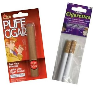 Fake Puff Cigar + 2 Fake Puff Cigarettes Fake Smoke Realistic Joke Prank Gag Fun