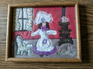 Folk Art Handmade Fabric Sewn Victorian Parlor Picture