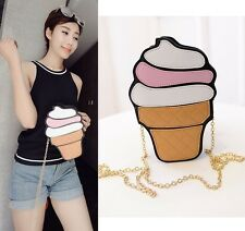 3D Ice Cream Cone Handbag Chain Purse Crossbody Shoulder Bag Clutch Tote