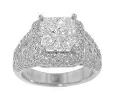 5.04 ct. TW Princess Diamond Engagement Accented Ring 18 kt White Gold