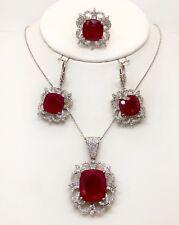 18k Solid White Gold Diamond & Ruby Ring Earrings Pendant Set 55.36 TCW VS1-2,F