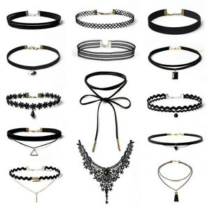14Pcs Beautiful Choker necklaces charms black leather vintage lace Chocker