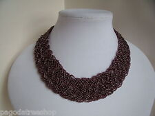 New Striking Choker Necklace of Interwoven Dusky Pink Brown Glass Beads