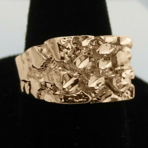 Heavy 14K Rose Gold Men Punk Ring Party Band Ring Unique Jewelry Size 9