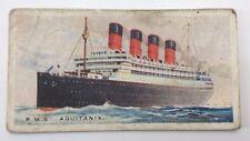Merchant Ships World RMS Aquitania Vessel Imperial Tobacco Card 12 F127