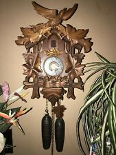 BEAUTIFUL GERMAN BLACK FOREST CARVED NESTING BIRDS 8 DAY CUCKOO CLOCK