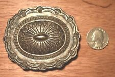 Vintage Sterling Silver Navajo CONCHO Belt Buckle Signed CARSON BLACKGOAT