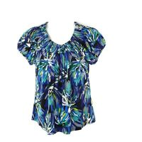Style & Co Womens XL Shirred Scoop Neck Cap Sleeve Multi-Color Floral Blouse