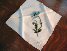 Vintage Unused Burmel Hanky Blue Embroidered Poppy Handrolled Original Tag Great