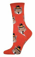 Socksmith Womens' Novelty Crew Socks Pilgrim Squirrels Fall Thanksgiving New