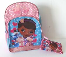 DOC MC STUFFINS LAMBIE GIRLS BACKPACK BOOK BAG 16 INCH PENCIL CASE
