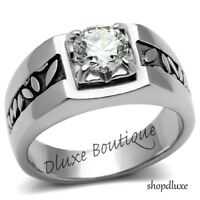 MEN'S ROUND CUT SIMULATED DIAMOND SOLITAIRE SILVER STAINLESS STEEL RING SZ 8-13