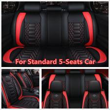 Black/Red PU Leather 5-Seats Car Seat Covers Full Set Premium Interior Universal
