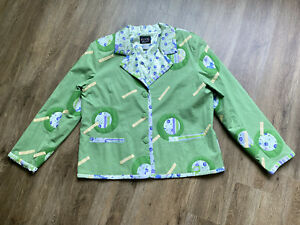 KOOS of Course! Funky Lined Jacket w/ Appliques Green XL