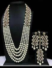 Indisch Hochzeit Braut Modeschmuck Gold Halskette Ohrring Perlen Schmuck Set