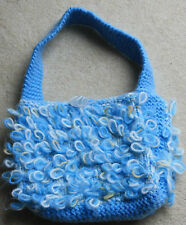New hand knitted medium size light blue loopy handbag my own design chunky wool