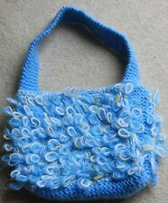 New hand knitted medium size light blue loopy handbag my own design chunky wool
