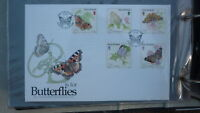 ISLE OF MAN STAMP ISSUE FDC, 1993 BUTTERFLIES SET OF 5 STAMPS