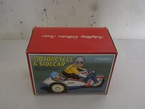 Old Original Tin Motorcycle with Side Car Key Wind-Up  Motor .