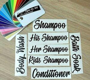 Conditioner Shampoo His Her Kids Body Wash Bath Soak Bottle Stickers Vinyl Decal