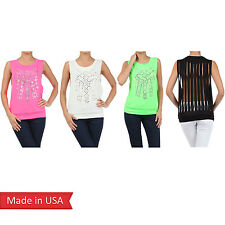 Women Neon Green Color Fringe Cut Off Detail on Back Tank Top Shirt w/ Studs USA