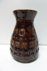 VINTAGE EUROPEAN POTTERY MID CENTURY VASE - IMPRESSED DECORATIVE PATTERN