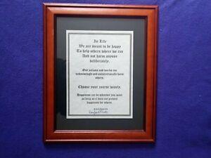 "Framed Original, Signed, Printed  "" In Life "" Quotation , New Frame 36x44cm"