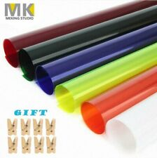 "6X 16x20"" Transparent Color Filter Paper Correction Gel Lighting Filter W/ Clips"
