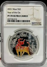 2021 Niue Lunar Year of the Ox Colorized 1 oz Silver Proof Coin - NGC PF 70 UCAM