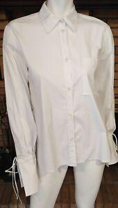 Carolina Herrera White Cotton L/S Hi Lo Blouse W/Wrist Ties $1190 Sample Size M