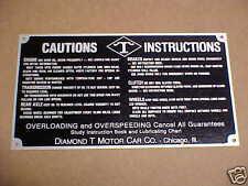 Diamond T Truck Caution Instruction Data Plate  1930s - 1950s Acid Etched Alumin