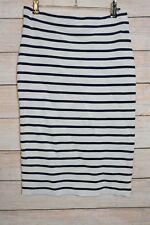 UNITED COLOURS BENETTON Skirt Sz Medium black white stripe stretch knit bodycon