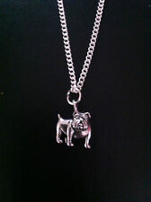 """SILVER BOXER DOG CHARM NECKLACE PENDANT 18"""" CHAIN FREE GIFT BAG UK SELLER"""