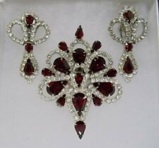 Vintage Large Ruby Glass and Rhinestones Brooch Pin and Clip-On Earrings