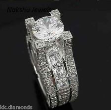 1.72CT VS1 Lovely Off White Yellow Moissanite Round .925 Silver Engagement Ring