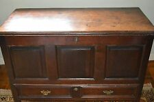 Antique 18th Century Oak Panelled Mule Chest,Coffer with Single Drawer, c1740