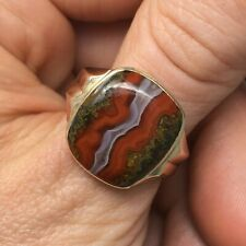 Vintage Red Banded Agate Cushion Shape 10K Gold Ring
