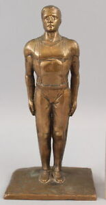 RARE Antique Signed PEKA Olympic Heroic Athletic Man Bronze Sculpture Statue