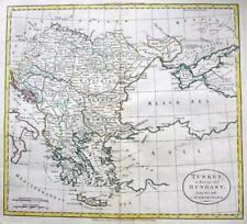 GREECE TURKEY HUNGARY  WILLIAM DARTON  ENGRAVED MAP ORIGINAL HAND COLOUR   c1792