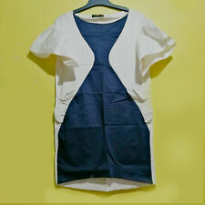 Navy And White Big Sleeves Shift Dress