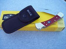 BUCK 110 * MASONIC SHIELD RED HANDLE LOCKBACK WITH SHEATH KNIFE KNIVES