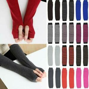 Hot Autumn Striped Knitted Fingerless Thumb Gloves Arm Warmers Ladies  Mittens