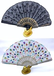Hand Held Folding Lace Fan Prop Fans 11 Colours