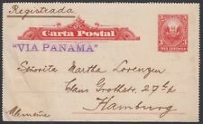PERU, 1906. Letter Card  H&G 1, Callao - Hamburg