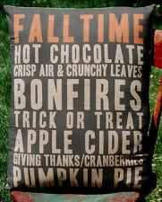 Harvest sign pumpkin words fall Halloween porch bench pillow decor primitive