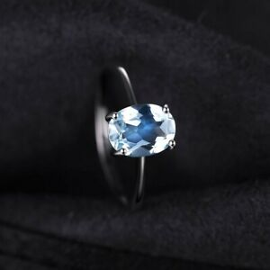 🎁🥂⚘💘Genuine Blue Topaz Ring Solitaire 925 Sterling Silver